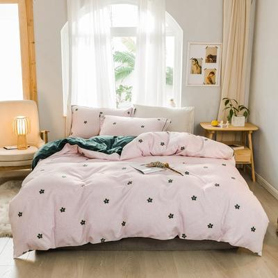 2019新款冬季保暖棉绒四件套 1.2m床单款三件套 绿色小花