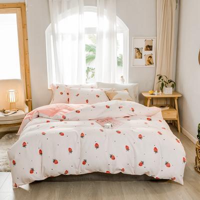 2019新款冬季保暖棉绒四件套 1.2m床单款三件套 浅粉草莓