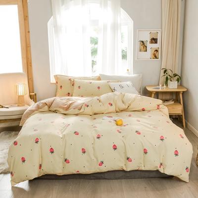 2019新款冬季保暖棉绒四件套 1.2m床单款三件套 浅黄草莓