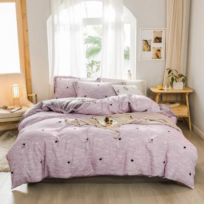 2019新款冬季保暖棉绒四件套 1.2m床单款三件套 紫色猫头