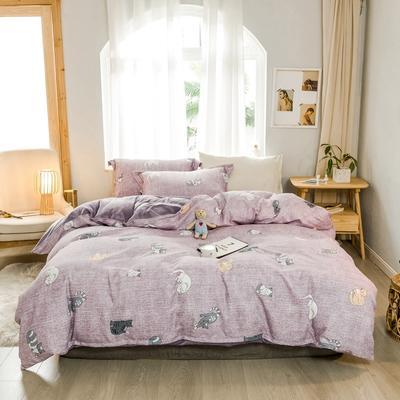 2019新款冬季保暖棉绒四件套 1.2m床单款三件套 紫色小猫