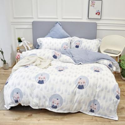 2019新款牛奶绒四件套 1.5m床单款 萌猫