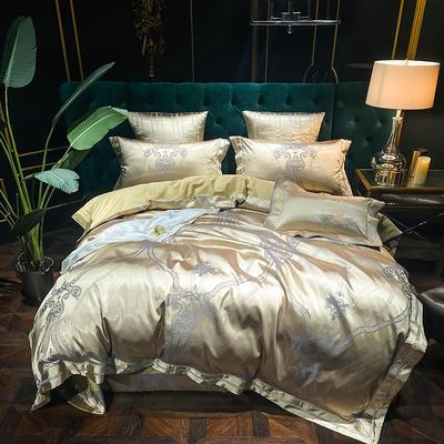 2020新款丝棉提花四件套 1.5m(5英尺)床单款 格律时尚(金驼)