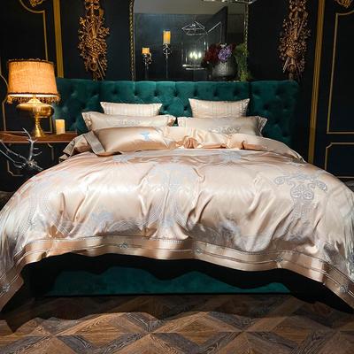 2020新款丝棉提花四件套 1.5m(5英尺)床单款 格律时尚(摩卡色)