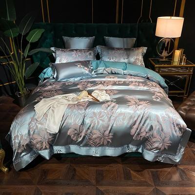 2020新款丝棉提花四件套 1.5m(5英尺)床单款 绿意之心(皇家兰)