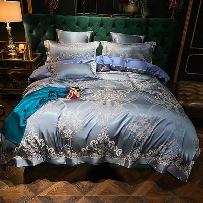 2020新款丝棉提花四件套 1.5m(5英尺)床单款 奢华魅力(贵族兰)