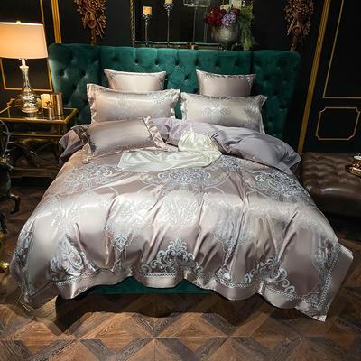 2020新款丝棉提花四件套 1.5m(5英尺)床单款 奢华魅力(天空灰)
