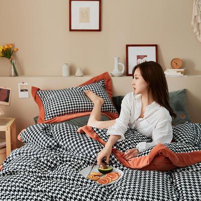 新款亲肤婴儿绒四件套(千鸟格系列) 1.8m床单款四件套 千鸟格橙