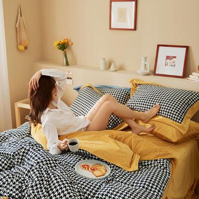 新款亲肤婴儿绒四件套(千鸟格系列) 1.8m床单款四件套 千鸟格黄