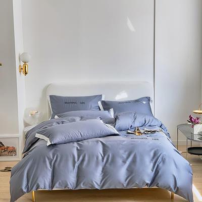 2021新款60s长绒棉时尚绣花四件套 1.5m(5英尺)床 冰蓝灰