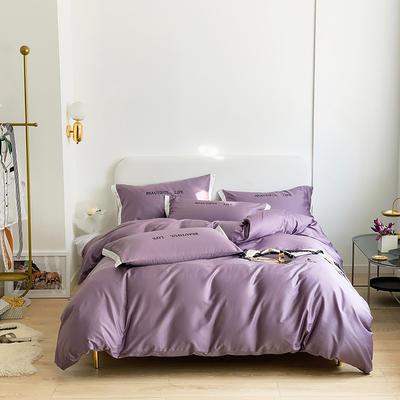 2021新款60s长绒棉时尚绣花四件套 1.8m(6英尺)床 槿烟紫