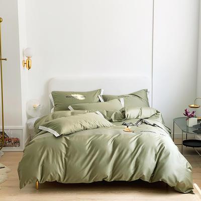2021新款60s长绒棉时尚绣花四件套 1.8m(6英尺)床 苔藓绿