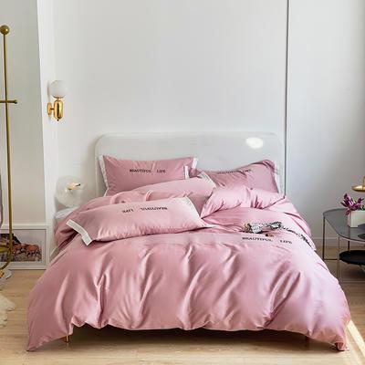 2021新款60s长绒棉时尚绣花四件套 1.8m(6英尺)床 甜梦粉