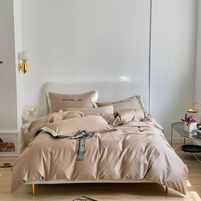 2021新款60s长绒棉时尚绣花四件套 1.8m(6英尺)床 微醺驼