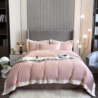 2021新款100S澳棉爱丽儿公主刺绣系列四件套 1.8m床单款四件套 粉