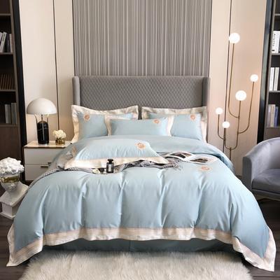 2021新款100S澳棉爱丽儿公主刺绣系列四件套 1.8m床单款四件套 蓝