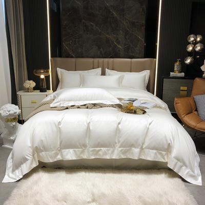 2021新款100支澳棉海岛棉素色精致嵌绳宽边工艺系列四件套 1.8m床单款四件套 初恋白