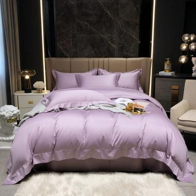 2021新款100支澳棉海岛棉素色精致嵌绳宽边工艺系列四件套 1.8m床单款四件套 海葵紫