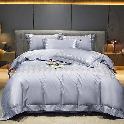 2021新款100支澳棉高定刺绣系列四件套—阑珊 1.8m床单款四件套 阑珊 北极蓝