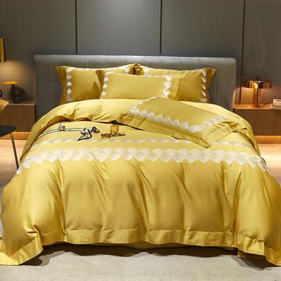 2021新款100支澳棉高定刺绣系列四件套—阑珊 1.8m床单款四件套 阑珊 琥珀黄