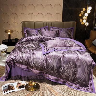 2021新款全棉贡缎大提花四件套 1.8m床单款四件套 米菲娜(紫)
