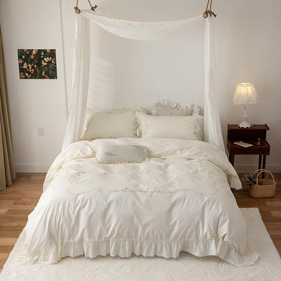 2021新款80支哑光全棉绸法式古典刺绣系列四件套 1.8m床单款四件套 纯白