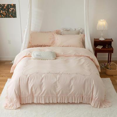 2021新款80支哑光全棉绸法式古典刺绣系列四件套 1.8m床单款四件套 淡粉