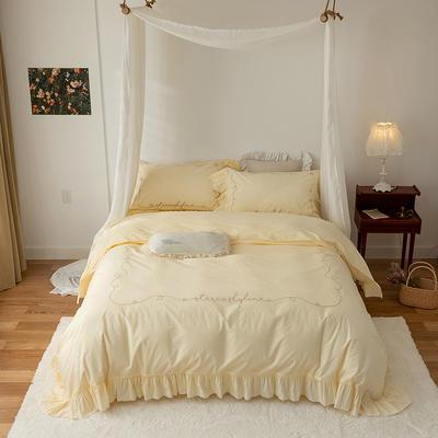 2021新款80支哑光全棉绸法式古典刺绣系列四件套 1.8m床单款四件套 淡黄