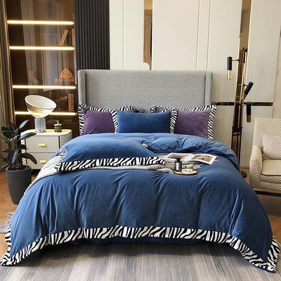 2021新款轻奢简约斑马纹婴儿绒系列四件套 1.8m床单款四件套 深蓝