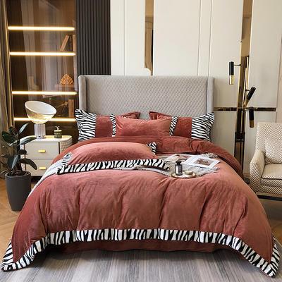 2021新款轻奢简约斑马纹婴儿绒系列四件套 1.8m床单款四件套 铁锈红