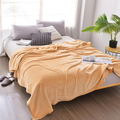 2018新款-纯色金貂绒毛毯330克 1.2*2.0m 玉色