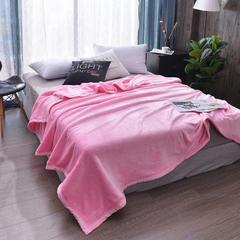 2018新款-纯色 加厚金貂绒毛毯400克 2.3*2.7m 加厚粉色