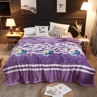 2018新款-金貂绒云貂绒毛毯 330克 120×200cm 字母-紫