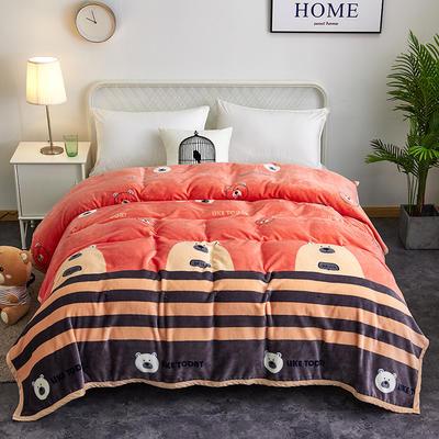 2018新款-金貂绒云貂绒毛毯 330克 120×200cm 可爱熊