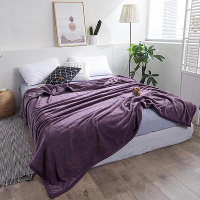 2018新款-纯色金貂绒毛毯330克 1.2*2.0m 深紫色