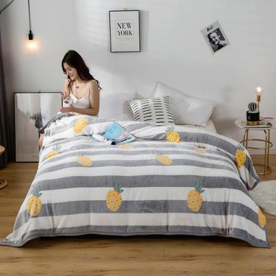 2020新款雪花绒毛毯 150cmx200cm 菠萝条纹
