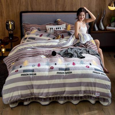 2019新款金貂绒牛奶绒四件套 1.2m(4英尺)床单款三件套 从林物语