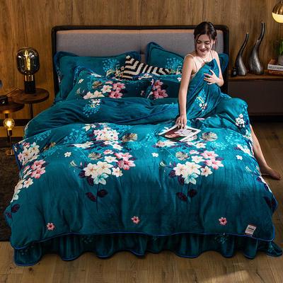 2019新款金貂绒牛奶绒四件套 1.2m(4英尺)床单款三件套 芬芳花语