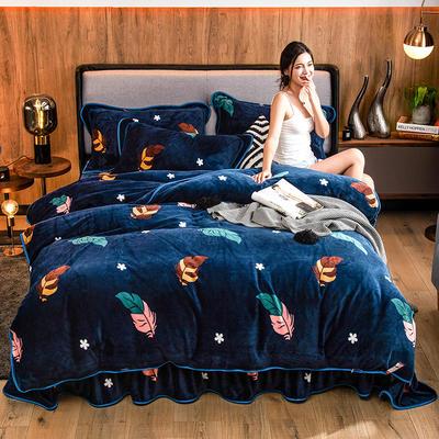 2019新款金貂绒牛奶绒四件套 1.2m(4英尺)床单款三件套 凤羽