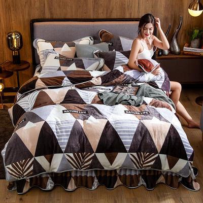 2019新款金貂绒牛奶绒四件套 1.2m(4英尺)床单款三件套 几何情调