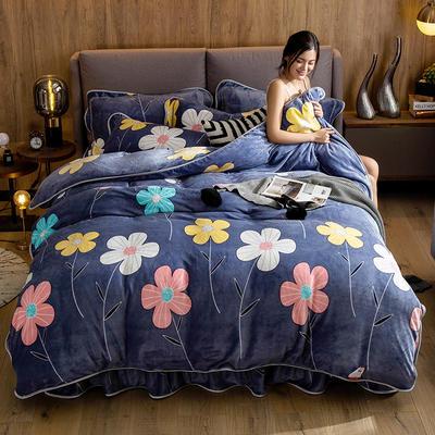 2019新款金貂绒牛奶绒四件套 1.2m(4英尺)床单款三件套 简约花朵