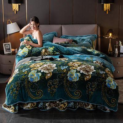 2019新款金貂绒牛奶绒四件套 1.2m(4英尺)床单款三件套 绿野仙踪