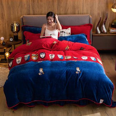2019新款金貂绒牛奶绒四件套 1.2m(4英尺)床单款三件套 猫头鹰