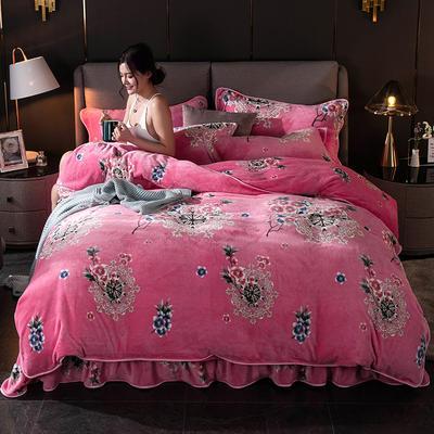 2019新款金貂绒牛奶绒四件套 1.2m(4英尺)床单款三件套 柔情蜜意