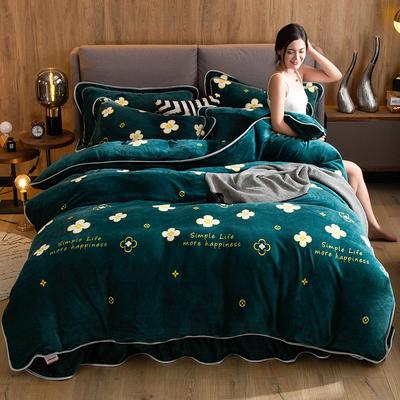 2019新款金貂绒牛奶绒四件套 1.2m(4英尺)床单款三件套 四叶草