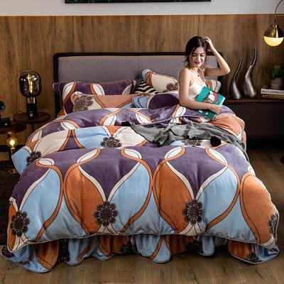 2019新款金貂绒牛奶绒四件套 1.2m(4英尺)床单款三件套 旋律