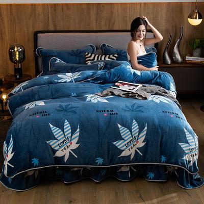 2019新款金貂绒牛奶绒四件套 1.2m(4英尺)床单款三件套 叶之韵