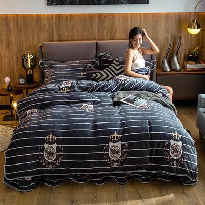 2019新款金貂绒牛奶绒四件套 1.2m(4英尺)床单款三件套 英伦风尚