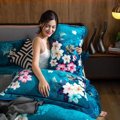 2019新款金貂绒牛奶绒单品枕套 48cmX74cm/对 芬芳花语