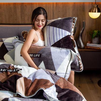 2019新款金貂绒牛奶绒单品枕套 48cmX74cm/对 几何情调